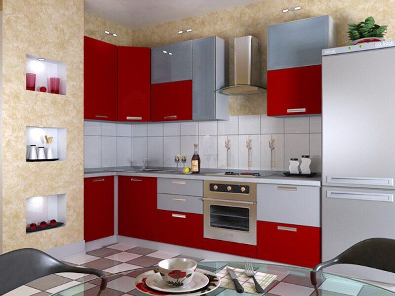 Красно серая кухня фото